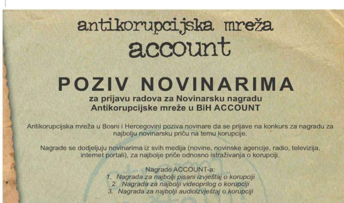 POZIV NOVINARIMA: ACCOUNT dodjeljuje nagrade za najbolje izvještavanje o korupciji