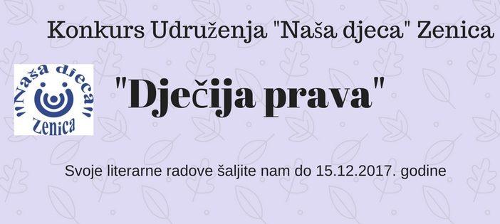 """Konkurs za literarne radove na temu """"Dječija prava"""""""