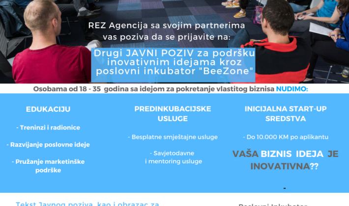 """Javni poziv za podršku poslovnim idejama kroz poslovni inkubator """"BeeZone"""""""